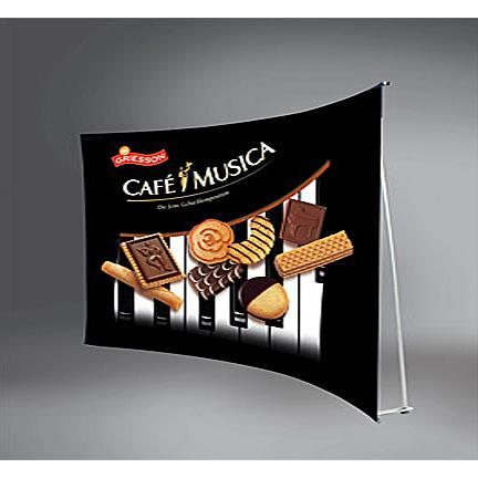 wide curved banner stand rental