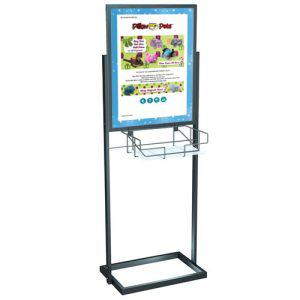 22x28 sign holder stand with basket