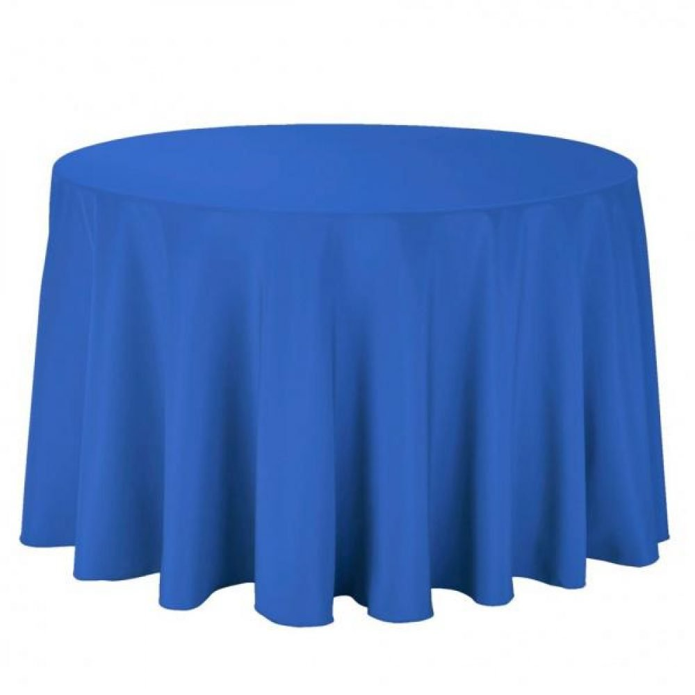 Round Royal Blue Table Cloth Throw Drape