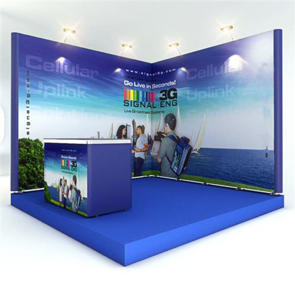 Exhibition Booth Graphics : L shape trade show booth with counter graphic