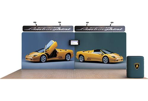 Exhibition Booth Header : Rental exhibit booth with header graphics exhibition