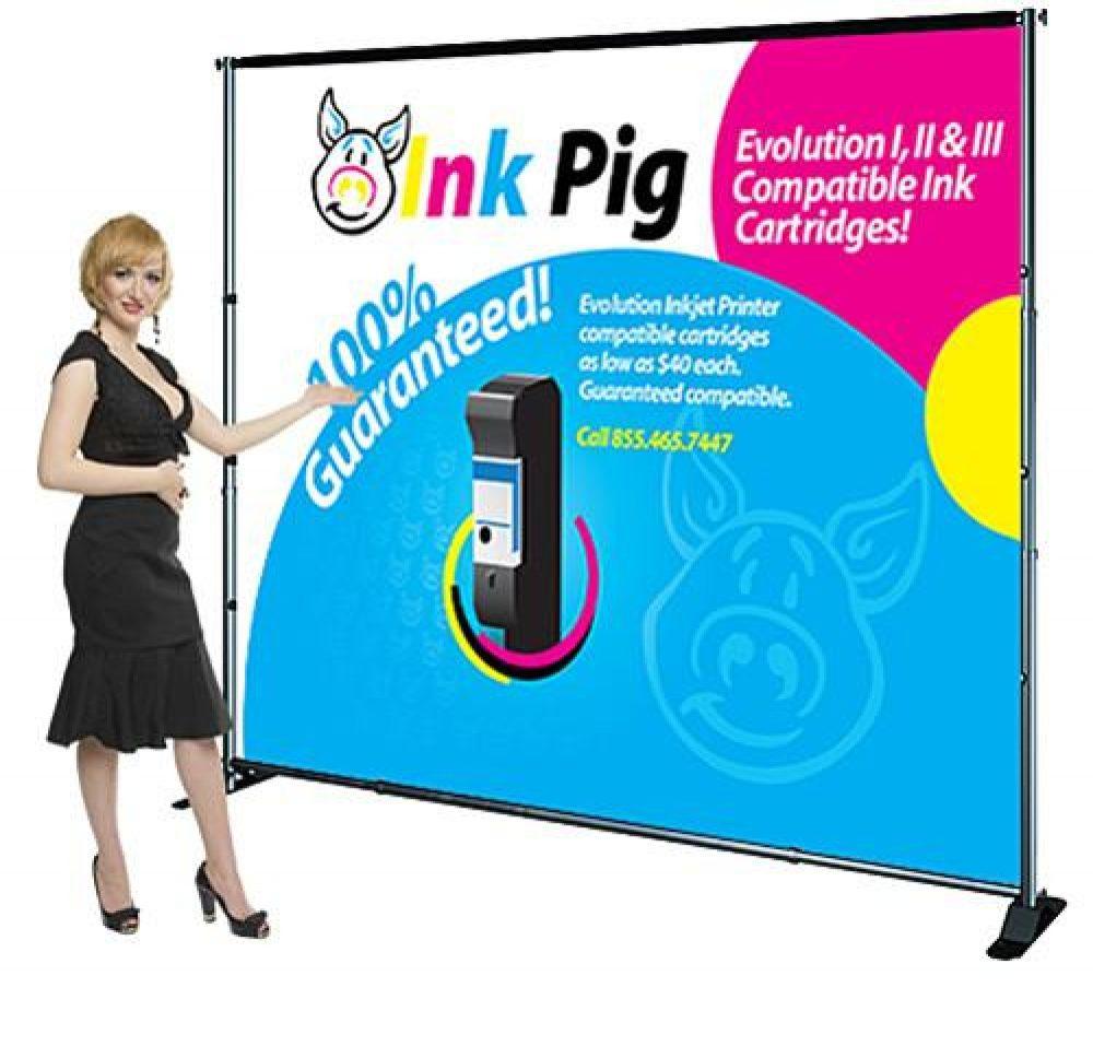 Rental 10' x 100' Backdrop Displays, Exhibit Fabric Banner Stands