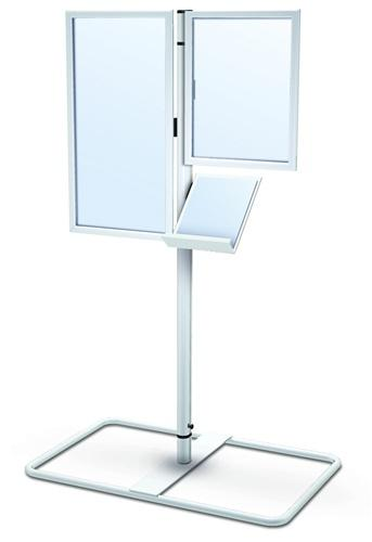 double sided sign holder with literature rack