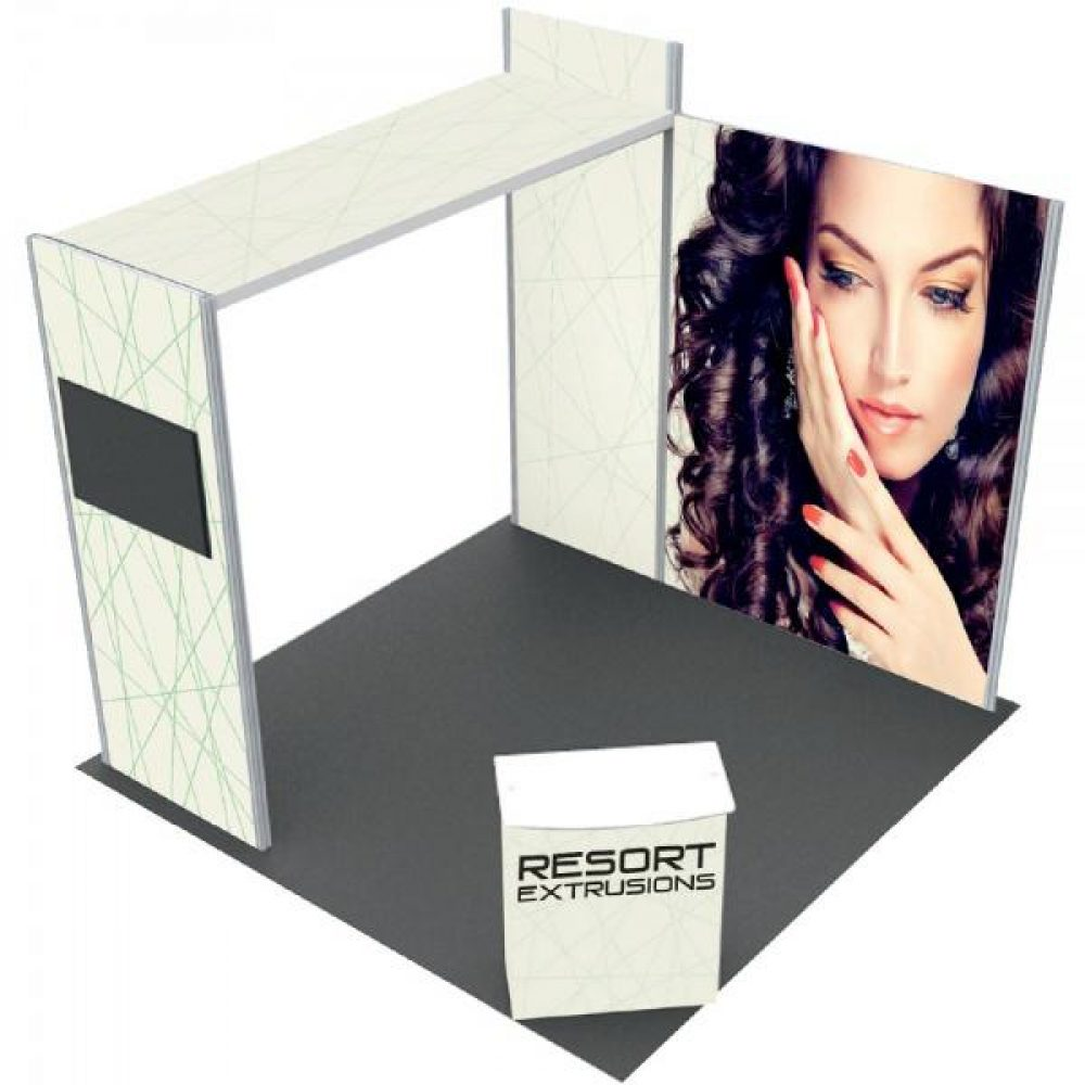 10x1010x10 Exhibition Booth With Fabric Graphic Bridge