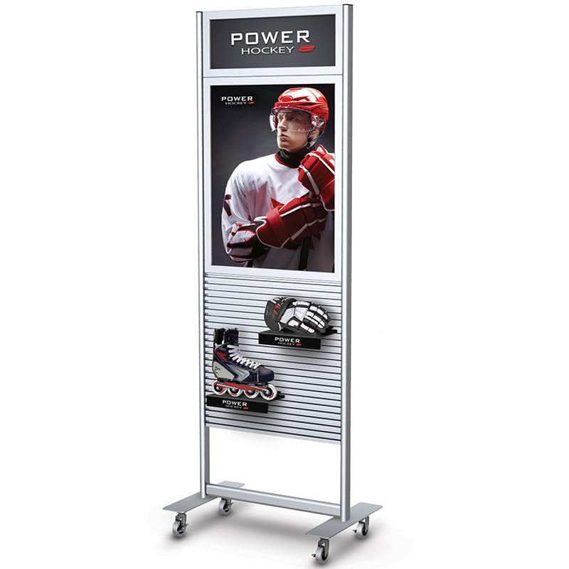 Slatwall Stand With Graphic Frams, Wheeled Display Stands