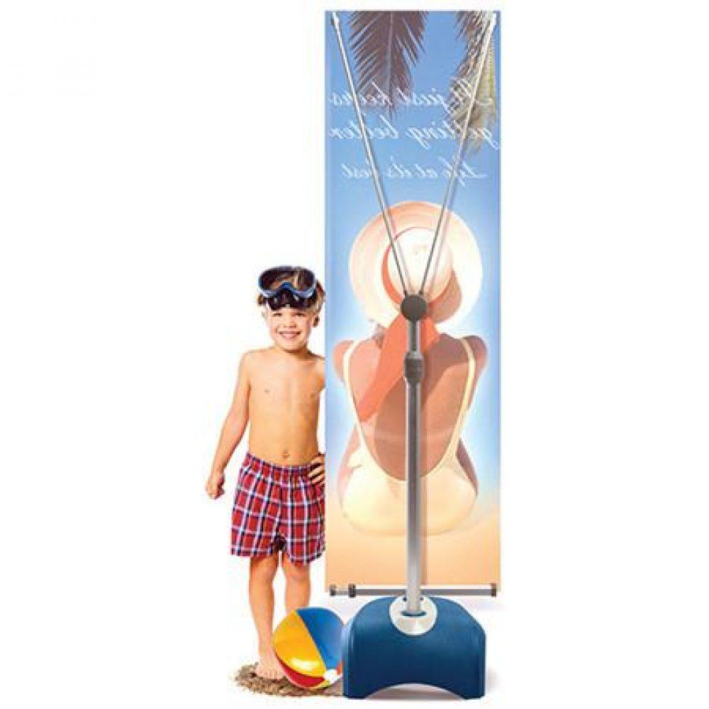 outdoor vertical banner stand with water base