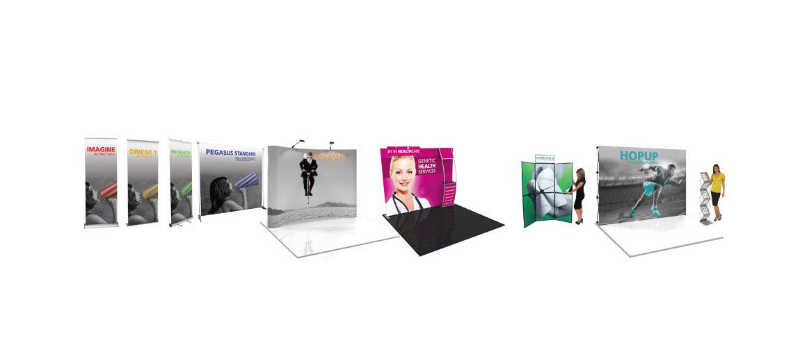 large selection of trade show displays