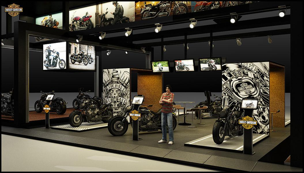 motorcycle store 3d artist designers