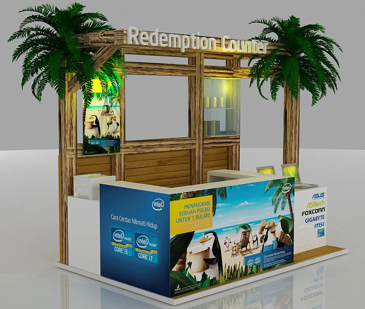 Reception Counter information booth 3d designers