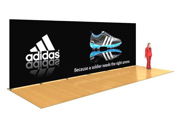 Adjustable Wide Banner Stand For Back Wall Displays And