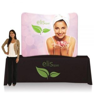 Rental EZ Tube Display 6ft Curved Table Top Single Sided Frame Graphic